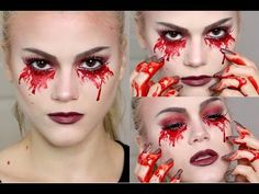 Here's my second Halloween makeup tutorial 2015 Bloody Halloween, Scary Halloween Costumes, Halloween 2018, Halloween Make Up, Halloween Face Makeup, Bloody Mary Costume, Character Dress Up, Youtube Halloween, Valentines Day Makeup