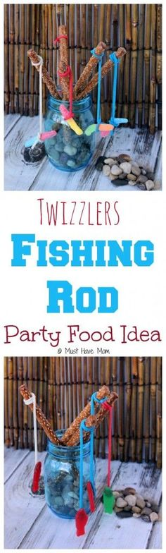 How to make Twizzlers Fishing Rods Party Food! This would be a Fun 4th of July food idea, fishing party food idea or fish themed kids activity idea!