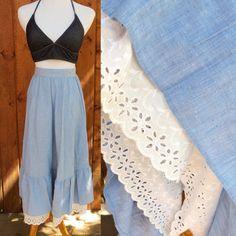Lace Hippie Skirt 70s Maxi Chambray Prairie Boho High Waist 1970s Eyelet Trim Denim Light Blue Size Small