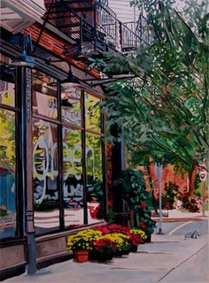 """Watercolor of the florist """"Green, Chicago"""" on Wells St. Original sold but I have prints of it Chicago Art Galleries, Chicago Artists, Chicago Map, Chicago Hotels, Natural Stills, Art Institute Of Chicago, Urban Landscape, Vintage Posters, Photo Art"""