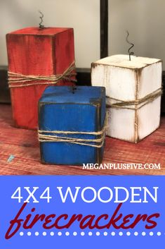 DIY Wood Firecrackers, easy Fourth of July Craft to make at home wood projects projects diy projects for beginners projects ideas projects plans 4x4 Wood Crafts, Wood Block Crafts, Scrap Wood Projects, Easy Craft Projects, Wood Blocks, Crafts To Make, Diy Crafts With Wood, Wood Crafts Summer, Holiday Wood Crafts
