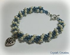 Blue and Pearl Spiral Beaded Bracelet by SpottedCraft on Etsy, $35.00