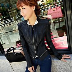 Zip-up delgado mujer chaqueta de cuero de la PU – EUR € 54.85