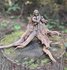 By Debra Bernier Driftwood Sculpture, Sculpture Art, Mermaid Bowl, Woodworking Enthusiasts, Amai, Beautiful Paintings, Faeries, Wood Art, Wood Crafts