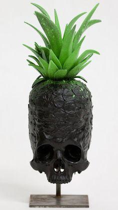 ☆ Piña Colada Pineapple Skull Sculpture :¦: Parisian Artist Ludo ☆
