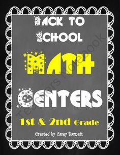 Back to School Math Centers 1st and 2nd grade CC from Barnett's School House on TeachersNotebook.com (37 pages)  - Use this kit with your first or second graders as a great math review from 1st grade! It's sure to get your year going with engaging activities.