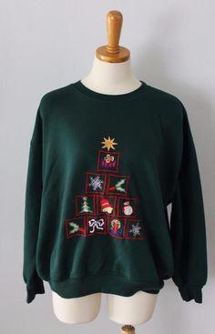 Vtg Ugly Christmas Sweater Women Men XL sweatshirt embroidered Nutcracker CS35 #Nutcracker #Crewneck