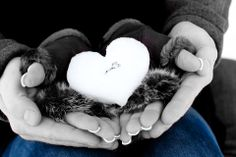 Wedding ring, winter snow heart, engaged couple fun picture