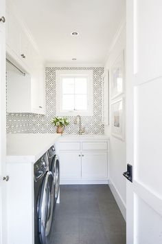 accent kitchen Benjamin Moore Simply White White Laundry room paint color with patterned accent tile . Benjamin Moore Simply White White Laundry room paint color with patterned accent tile as back. White Laundry Rooms, Mudroom Laundry Room, Laundry Room Layouts, Laundry Room Remodel, Laundry Decor, Farmhouse Laundry Room, Laundry Room Floors, Laundry Shelves, Laundry Room Inspiration