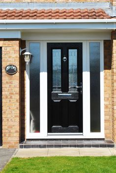 Image result for black composite door with white side panel