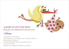 Stork Baby - Indian Baby Shower Invitations by #Soulfulmoon