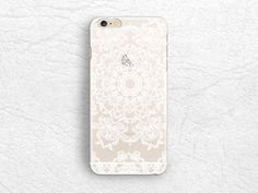 White Mandala matte transparent phone case for iPhone 5 5s, iPhone 6, Nexus 6, Sony z3, HTC one M9, LG g3, Samsung note 4 floral case -P30