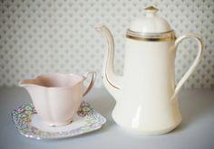 vintage coffee pot, milk jug & teaplate