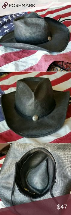 Shady Brady Black Straw Cowgirl Hat USA SWAG! Handmade Shady Brady Black Straw Cowgirl Hat COWGIRL SWAG!  Rodeo, Ranch Basic black with small conch.  Handmade in USA.  Love the Look! Live the Look! Shady Brady Accessories Hats