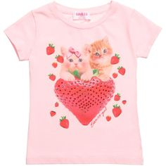EAN 13 Pink T-Shirt with Kitten & Strawberry Print at Childrensalon.com