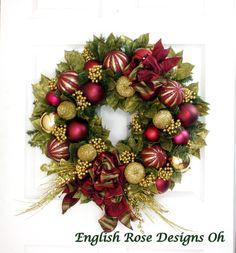 Christmas Wreath * Burgundy Wreath * Gold Wreath * Christmas Decor * Holiday Wreath * Ornament Wreath * Holiday Decor * Front Door Wreath by englishrosedesignsoh on Etsy