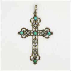 Austro-Hungarian Circa 1900's Turquoise & Pearl Cross Pendant