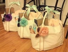 Bridesmaids Gift Bags - Overloaded with items to survive the Wedding Weekend!! Mint Green, Peach, Pink, Purple, Ivory. Complete list from Harmony Creative Studio, Santa Monica, CA