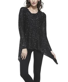 This Black Sequin Sidetail Tunic by Simply Couture is perfect! #zulilyfinds