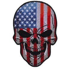 34521d877e861 American Flag Small Skull Patch