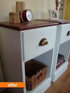 These were old ratty wooden nightstands. I love how they were redone; such a cheap upgrade. I want to learn how!