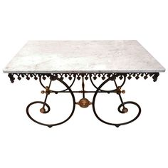 Marble Top Cast Iron French Pastry or Butcher's Table at 1stdibs