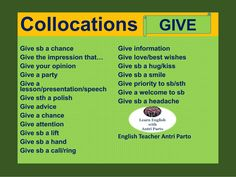 Collocations with. English Talk, English Letter, English Class, Learn English, English Vocabulary, English Grammar, English Language, English Teaching Materials, Teaching English