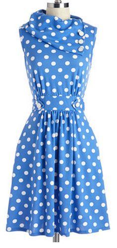 Cute polka dot dress for spring