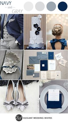 navy and gray elegant winter wedding color ideas 2014 trends #elegantweddinginvites