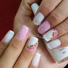 Since Polka dot Pattern are extremely cute & trendy, here are some Polka dot Nail designs for the season. Get the best Polka dot nail art,tips & ideas here. Rose Nail Art, Rose Nails, Flower Nails, Pink Nails, Acrylic Nails, Gel Nails, Confetti Nails, Dot Nail Designs, Polka Dot Nails