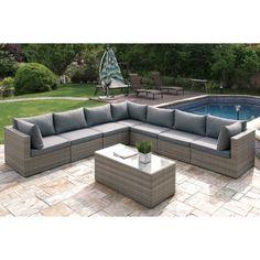 Poundex Arinsal 7 Piece Patio Sectional Sofa (Tan), Size 7 Piece Sets, Patio  Furniture (Aluminum)