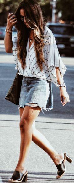 #summer #popular #outfitideas Stripes + Denim