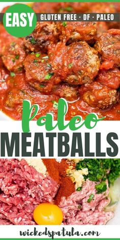 Easy Italian Paleo Meatballs Recipe - Youre going to love this easy paleo meatballs recipe. Smother these paleo Italian meatballs with sauce and serve them for an appetizer or meal! Easy Paleo Dinner Recipes, Breakfast Recipes, Vegetarian Recipes, Healthy Recipes, Paleo Breakfast, Paleo Appetizers, Appetizer Ideas, Lunch Recipes, Breakfast Ideas