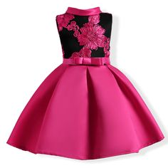 Rose Red Embroidered Flowers Flower Girl Dress https://www.popreal.com/Products/rose-red-embroidered-flowers-flower-girl-dress-5753.html #popreal #toddlerprincessdress #toddlergirlprincessdress
