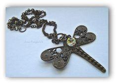 Dragonfly necklace Sworvski crystal Bohemian Gift for her SRAJD Boho jewellery Bronze dragonfly Gorgeous necklace Dragonfly Necklace, Artisan, Crystals, Trending Outfits, Unique Jewelry, Bracelets, Handmade Gifts, Etsy, Vintage