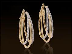 Ear Jewelry, Girls Jewelry, Women's Earrings, Diamond Earrings, Gold Earrings For Women, Gold Jewellery Design, Wedding Jewelry Sets, Contemporary Jewellery, Baguette