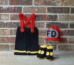 Firefighter hat pants boots set ,Girl Fireman Set ,baby hat ,Baby pants ,shoes ,booties,photography prop ,newborn 0-3 months , custom colors