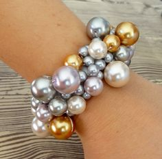 DIY Clustered Pearl Bracelet, or use bells for Christmas