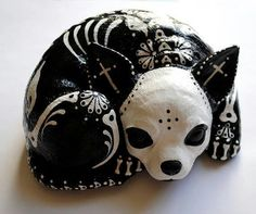 "Day of the Dead Chihuahua.  I found this on Facebook from the page ""Horrific Finds"".  I want one!!!"
