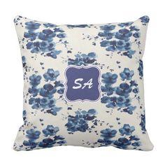 #beauty - #Cute Blue & White Floral Design Monogrammed Pillow