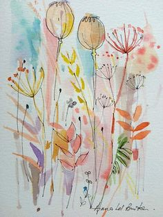 Original Water Colour and ink Painting 'Seedheads and Cow Parlsey'. Signed.
