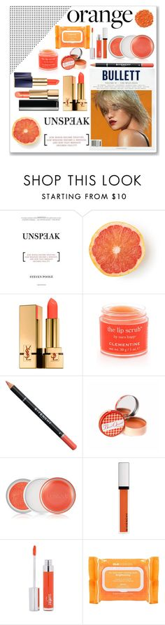 """orange addicted"" by dewikartika ❤ liked on Polyvore featuring beauty, Illamasqua, Yves Saint Laurent, Sara Happ, Givenchy, Soap & Paper Factory, Clinique, Zelens, Ole Henriksen and Beauty"
