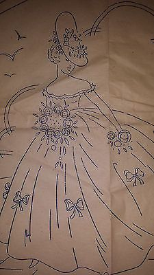 Vintage Crinoline Lady Embroidery Transfer Pattern - Fancy Needlework 20932