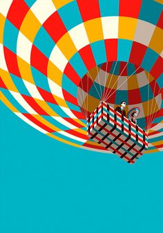 hot air balloon, illustration by malika favre