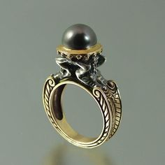 Tahitian Pearl 14K gold and silver Ring with by WingedLion on Etsy, $1395.00