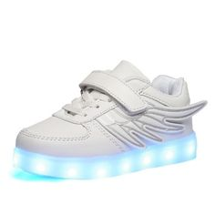 White Kids One Velcro Light Up Trainers With Wings
