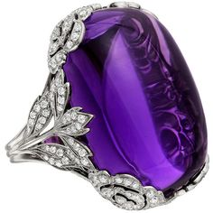 Preowned Large Cabochon Amethyst Diamond White Gold Ring (109.220 VEF) ❤ liked on Polyvore featuring jewelry, rings, accessories, multiple, white gold rings, statement rings, cushion cut diamond ring, 18k ring and diamond cocktail rings