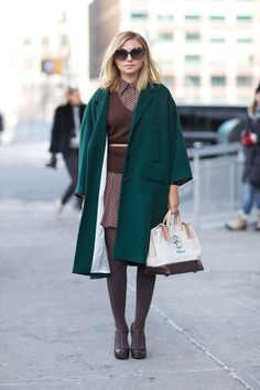 green coat, fall, winter, polka dot shirtdress, belted, brown knit, v neck sweater, dress, flowy, tights, t strap heels, shoes, brown leather, sunglasses style from: harpersbazaar.tumblr
