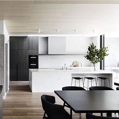 {Bonus Friday Feature post from Mim Design. This time it's actually a residential project - they carry on that clean-lined aesthetic on those too!} Informing the design was the requirement to. Eat In Kitchen, Kitchen Dining, Kitchen Decor, Kitchen Ideas, Mim Design, Cocinas Kitchen, Cuisines Design, Interiores Design, Kitchen Interior