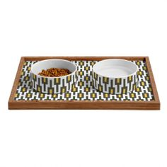Raven Jumpo Grey Gold Geometry Pet Bowl and Tray